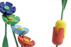 Flowers made of wood. Color flowers made of wood Royalty Free Stock Photography