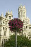 Flowers and Madrid Post Office, Madrid, Spain Stock Images