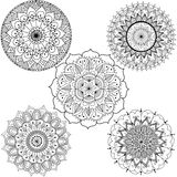 Flowers and mandalas line art for coloring book for adult, cards, and other decorations Stock Photography