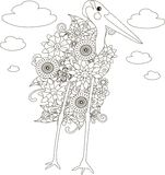 Flowers marabou stork, coloring page anti-stress Royalty Free Stock Photos