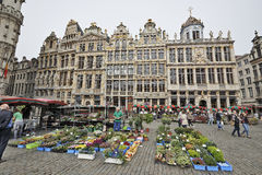 Flowers market at the Grand Place In Brussels, Belgium Royalty Free Stock Photography