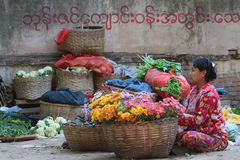 Flowers at the Market, Myanmar Royalty Free Stock Photos