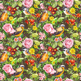 Flowers, meadow grass, birds. Seamless floral pattern. Watercolor. Vintage flowers, wild herbs. Seamless repeating floral and herbal pattern. Watercolor Royalty Free Stock Photos