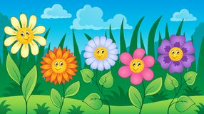 Flowers on meadow theme 3 Royalty Free Stock Image