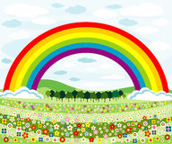 Flowers meadows and rainbow Stock Images