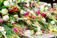 Flowers meant for worshipping god. In Thai temple Royalty Free Stock Images