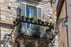 Flowers in medieval street of Assisi town, Italy Stock Images