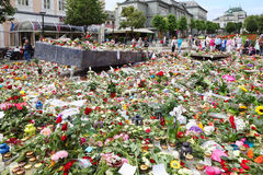 Flowers at memorial to victims of massacre Stock Images