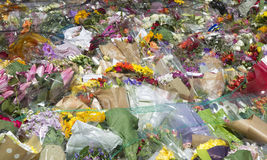 Flowers in memories to a terrorist attack in London Stock Images