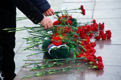 Flowers in memory of those killed in wars and armed conflicts. The memory of the victims of the war. Russia royalty free stock image