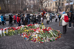 Flowers in memory of murdered on Euromaidan Royalty Free Stock Images