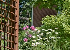 Flowers, metal latticework and hanging basket used to decorate the side of a red barn in Groton, MA. Sunny Dayd, blue skies makes gardens in front of barn Groton Royalty Free Stock Photography