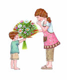 Flowers for Mom. An illustration of a boy giving his mother a flower bouquet Royalty Free Stock Photo