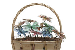 Flowers of money. Bouquet of flowers origami made by bills of different values of euro royalty free stock images