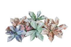 Flowers of money. Bouquet of flowers origami made by bills of different values of euro stock images