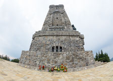 Flowers at the monument to the heroes of Shipka Royalty Free Stock Photography