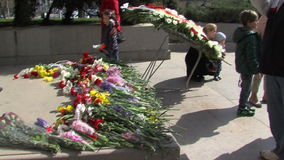 The flowers at the monument to the Unknown Soldier in downtown Sofia, Bulgaria stock video