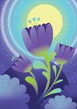 Flowers at moon night.  Illustration Stock Image