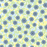 Flowers on motley background of circles. Colorful seamless pattern. White, yellow, green, blue, black colour. Vector illustration Stock Images