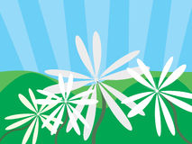 Flowers and mountains. Vector illustration of flowers and mountains Royalty Free Stock Image