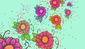 Flowers in movement of pink colors, illustration royalty free illustration