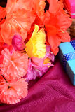 Flowers from mulberry paper whith holiday gift box Stock Photography
