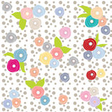 Flowers multicolor grey polka dot retro background beautiful pattern Royalty Free Stock Photography