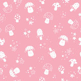 Flowers and mushrooms nature pastel kids pattern Royalty Free Stock Photography