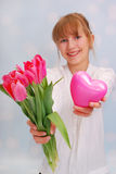 Flowers and my heart for you Stock Images