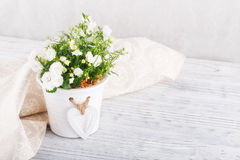 Flowers and napkin on a table Stock Photo