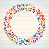 Flowers nature lined note book paper circle frame background Royalty Free Stock Photography