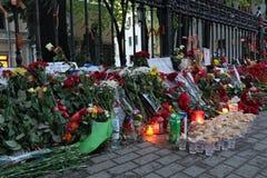Flowers near the Embassy of Ukraine Stock Photos
