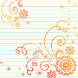 Flowers Notebook Doodle on Graph Paper Royalty Free Stock Photos
