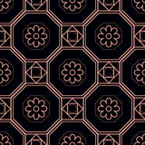 Flowers and octagons seamless pattern. Seamless pattern background with simple geometrical and floral design, pink octagon and square on black Royalty Free Stock Photo