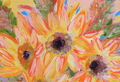 Flowers Oil painting fragment Royalty Free Stock Photography
