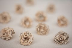 Flowers - old book paper roses stock photos