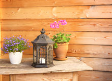 Flowers and old lantern on a wooden table Stock Image