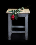 Flowers and old a stool Stock Images