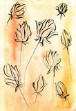 Flowers in one line on a warm watercolor background. Peony flower line hand drawn sketch. Floral plant botany element. Contour illustration on watercolor Stock Photography