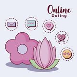 Online dating design. Flowers  with online dating related icons over  purple background, colorful design. vector illustration Stock Images