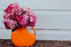 Flowers in orange vase Royalty Free Stock Image