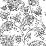 Flowers oriental ornament paisley for the anti stress coloring page. Vector illustration., anti-stress coloring stock illustration