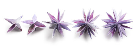 Flowers origami banknotes Royalty Free Stock Images