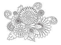 Flowers ornament coloring book for adults vector Royalty Free Stock Image