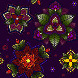 Flowers ornament seamless background with hand drawn elements. On dark Stock Images