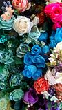 Flowers ornament. Wall of gorgeous beautiful colorful roses decoration stock photography