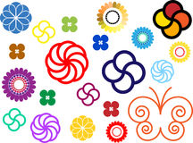 Flowers ornaments colours. Some flowers and ornaments and one butterfly vector illustration Stock Image