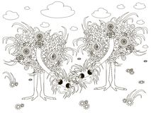 Flowers ostriches, coloring page anti-stress illustration Stock Image