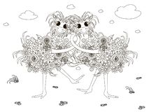 Flowers ostriches hug, coloring page anti-stress monochrome vector illustration