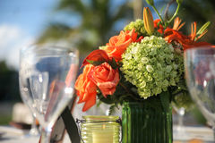 Flowers on outdoor table Royalty Free Stock Photos